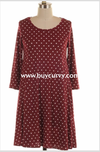 Pls-E {High Fashion} Burgundy Polka-Dot Dress With Pockets Extended Plus Pls