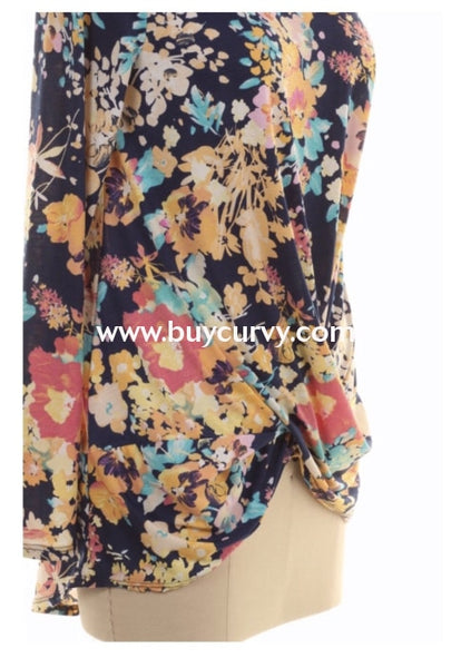 Pls-E {Spring Forward} Floral Mock Neck Top With Twisted Front Pls