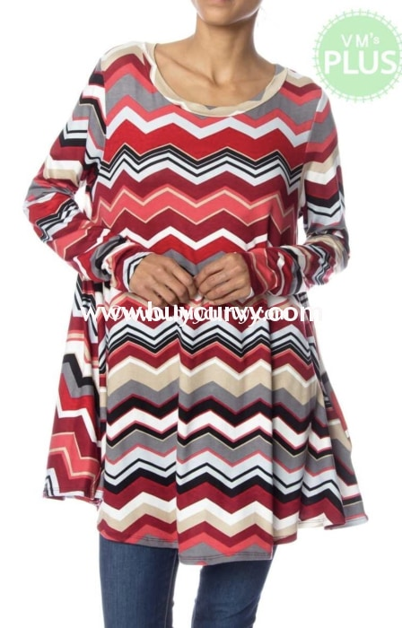 Pls-H {Fun Personality} Red Chevron Tunic With Pockets Pls