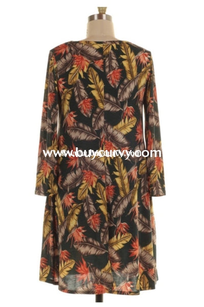 Pls-H {Harvest Festival} Printed Dress With Pockets Pls