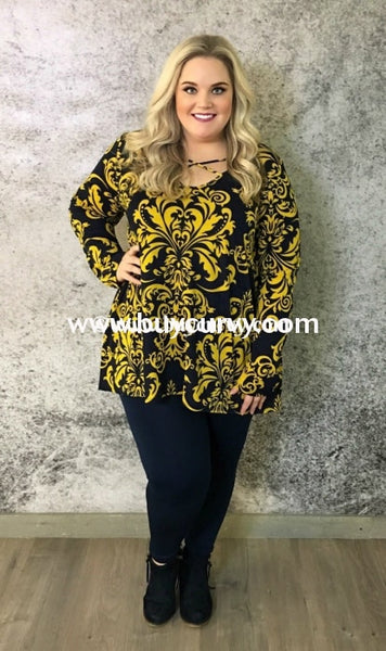 Pls-H Indigo/amarillo Damask Criss-Cross Tunic {Extended Plus} Pls