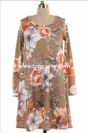 Pls-H {Obviously Right} Taupe Floral Dress With Pockets Pls