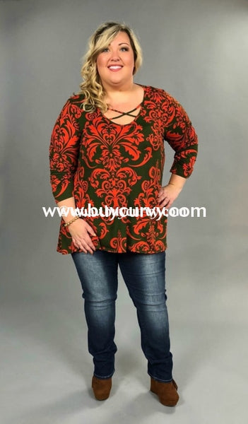 Pls-H Pine/scarlet Damask Criss-Cross Tunic {Extended Plus} Pls