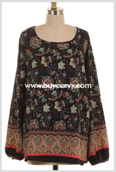 Pls-M Ink Floral Border Print Elastic Sleeves Sale!! Pls