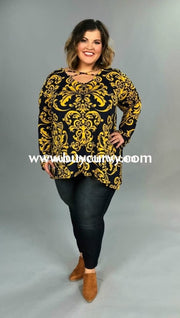 Pls-N Loose-Fit Mustard & Navy Damask Criss-Cross Tunic Pls