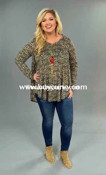 Pls-N {Never Let You Go} Hi-Lo Leopard Print Top With V-Neck Pls