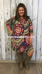 Pls-N Taupe/candy Pink Medallion W/ Cowl Neck Sale!! Pls
