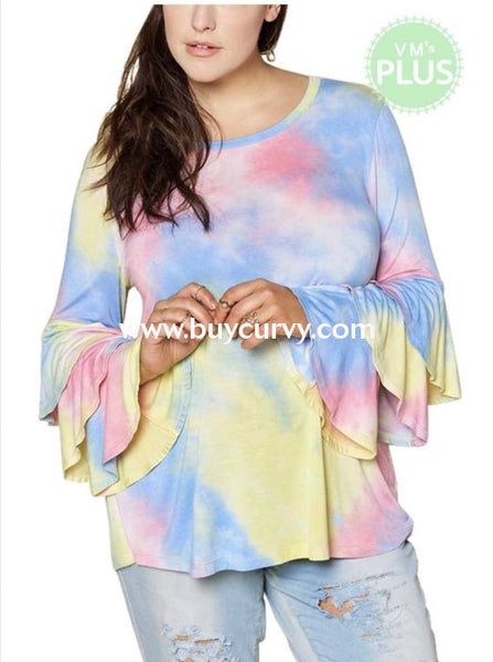 Pls-O {I Got U Babe} Pastel Tie-Dye Top With Layered Sleeves Pls