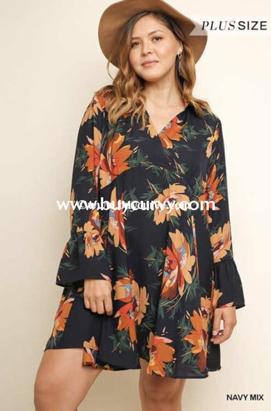 Pls-O Umgee Navy Floral Tunic Dress With Collar & Bell Sleeves Pls