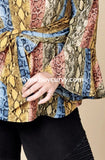 Pls-P {Exclusive Design} Multi Snakeskin Print Tie Waist Top Pls