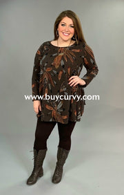 Pls-P Lovely J Brown Stretchy Knit With Feather Print Sale!! Pls