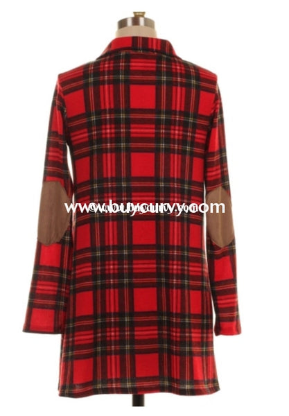 Pls-Q Red Plaid Top With Elbow Patches Pls