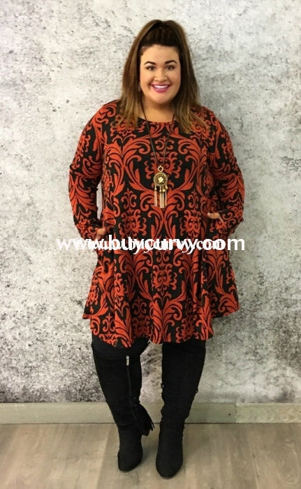 Pls-S Black/rust Knit Damask Print With Side Pockets Sale! Pls