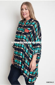 Pls-T Umgee Emerald Plaid Oversized Sale! Pls