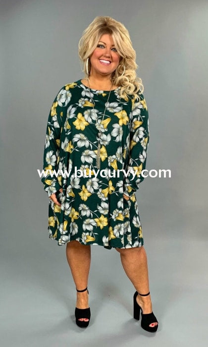 Pls-V {Dandy Choice} Green Floral Soft Knit Dress With Pockets Extended Plus Pls