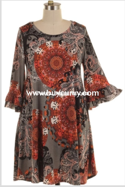 Pq-A {Elegance Never Fades} Charcoal & Rust Printed Extended Plus Sale!! Pq