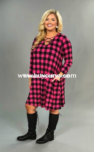 Pq-A Fuchsia/black Checkered With Corset V-Neck Sale! Pq
