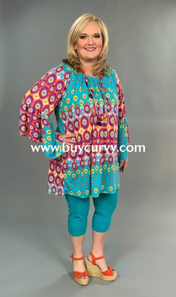 Pq-A {Kaleidoscope} Teal/coral Printed Tunic With Bell Sleeves Extended Plus Pq