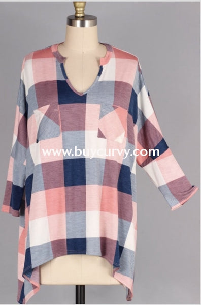 Pq-A {Let It Be} Navy Salmon Plaid V-Neck With Pockets Extended Plus Pq