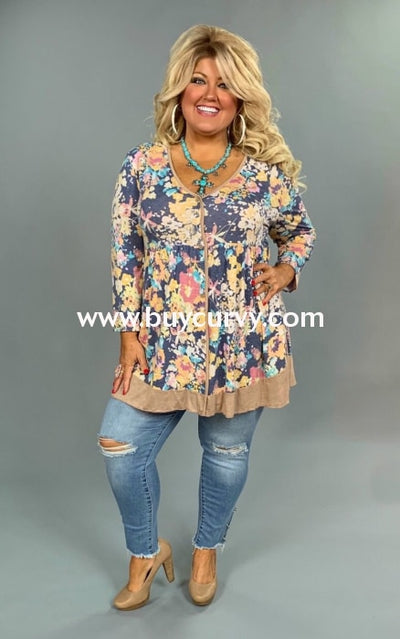 Pq-B {In Good Hands} Floral Print V-Neck Tunic With Buttons Pq