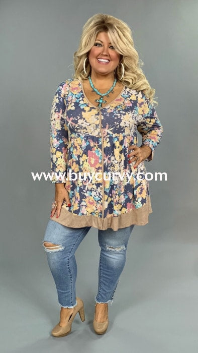 Pq-B {In Good Hands} Floral Print V-Neck Tunic With Buttons Extended Plus Pq