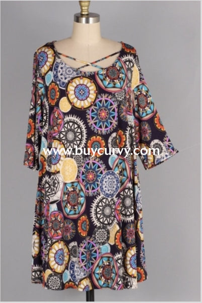 Pq-C {Bold Declaration} Navy/multi-Color Mandala Print Dress Pq