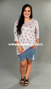 Pq-C Heather Gray/pink Heart Print Top With Gathered Hem Pq