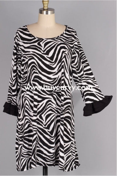 Pq-D {Cant Be Tamed} Zebra Print Dress With Ruffle Sleeves Pq