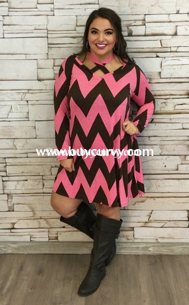 Pq-D Dark Brown/pink Chevron Print With Pockets Sale!! Pq