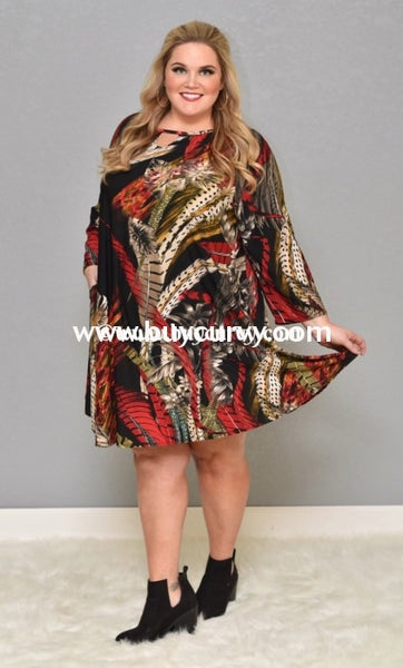 Pq-D {Extended Plus} Black/red Feather Print With Keyhole Detail Sale!! Pq