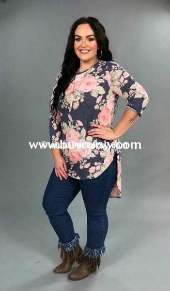 Pq-D {Lost In Thought} Navy/pink Floral Hi Lo Tunic Pq