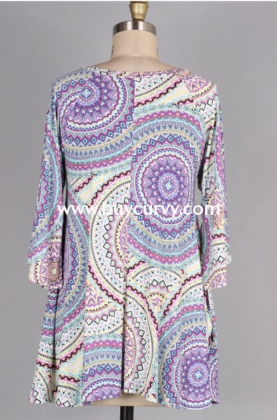 Pq-E {Glorious Style} Multi Mandala Print Criss-Cross Tunic Extended Plus Pq