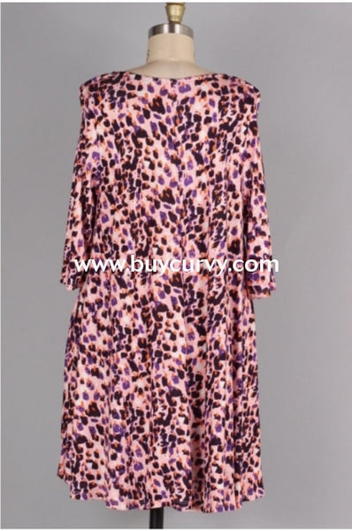 Pq-F {Crossed Ways} Pink & Purple Leopard Print Dress/pockets Pq