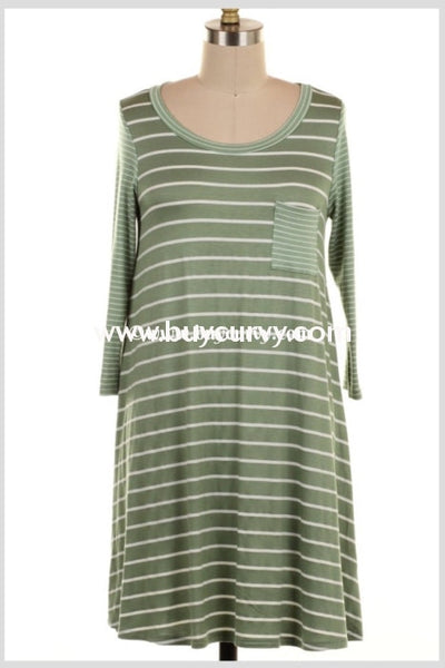 Pq-F/b {Simple Beauty} Extended Plus Green Striped Dress Pq