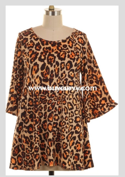 Pq-G {Extended Plus} Cheetah Print With Wide Sleeves Extended Plus Tunic Pq