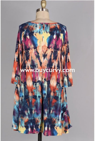 Pq-G {Masquerade} Multi Abstract Print Criss-Cross Dress Pq