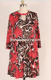 Pq-G {Moody Remarks} Red Animal Print Dress With Keyhole Detail Pq