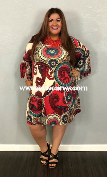 Pq-G Red/blue Mandala Paisley Print Dress W/ Bell Sleeves Pq