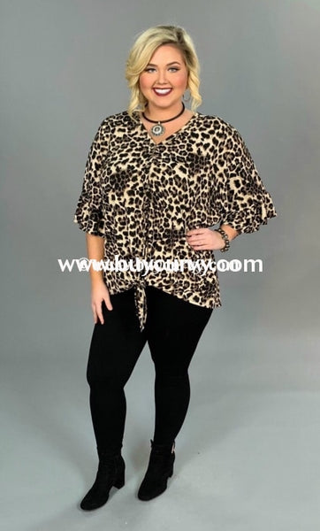 Pq-G {See The World} Leopard Print Button-Front Tunic With Tie Extended Plus Pq