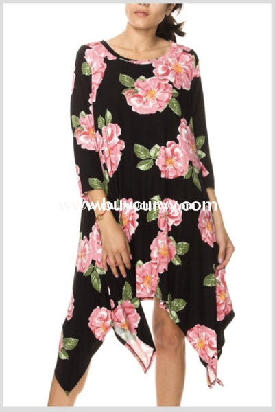 Pq-G {Shes My Kind Of Rain} Black & Pink Floral Dress Pq