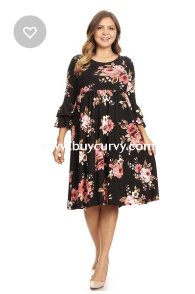 Pq-G {Southern Charm} Black Floral Dress W/ Ruffle Sleeves (Stretchy Butter-Soft Fabric!) Pq