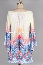 Pq-H {Just Say Yes} Multi-Color Tunic Dress With Bell Sleeves Pq
