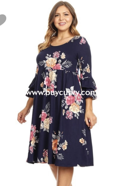Pq-H {Southern Charm} Navy Floral Dress With Ruffle Sleeves (Stretchy Butter-Soft Fabric!) Pq