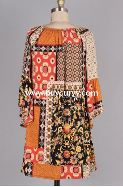 Pq-I {A Great Day} Orange/camel Floral Patchwork Dress Pq