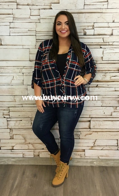 Pq-I Navy With Rust/green Plaid Sale!! Pq