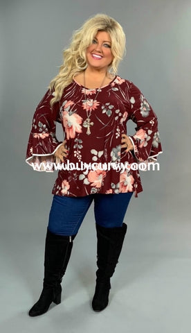 Pq-J {Hello World} Burgundy Floral Tunic With Bell Sleeves Extended Plus Pq