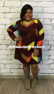 Pq-L Burgundy/multi Knit Dress Color-Block With Long Sleeves Pq