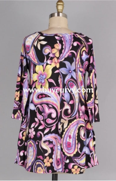 Pq-P {Jumping For Joy} Pink/purple Paisley Floral Keyhole Tunic Pq