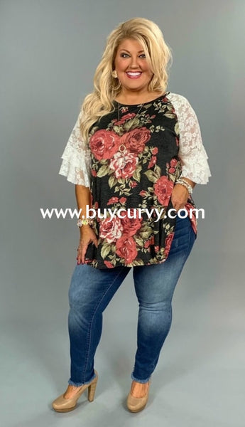 Pq-P {Meet The Queen} Floral Print Top With Wide Lace Sleeves Pq