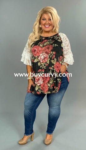 a2ef5b6388f Pq-P  Meet The Queen  Floral Print Top With Wide Lace Sleeves Pq